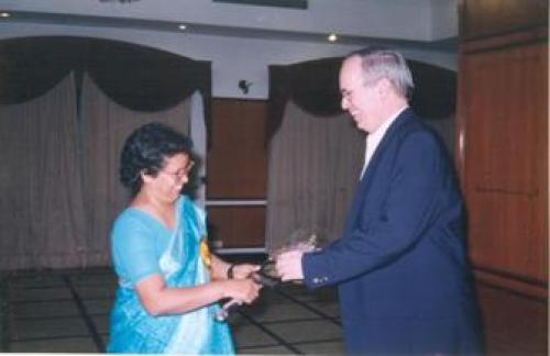 Dr. Vrisha Madhuri (Christian Medical College, Vellore) with Dr. S. J. Tredwell (Canada) at the Inau